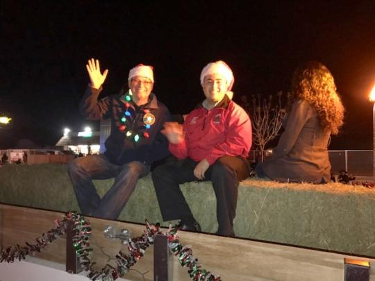 Arvin Christmas Parade - Assemblymember Salas sitting on Christmsas float in the parade