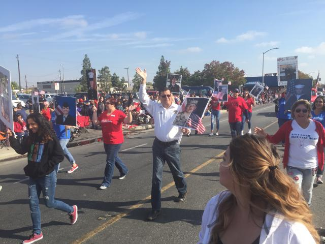 Assemblymember Rudy Salas marches with Kern River Blue Star Moms in Veterans Day Parade