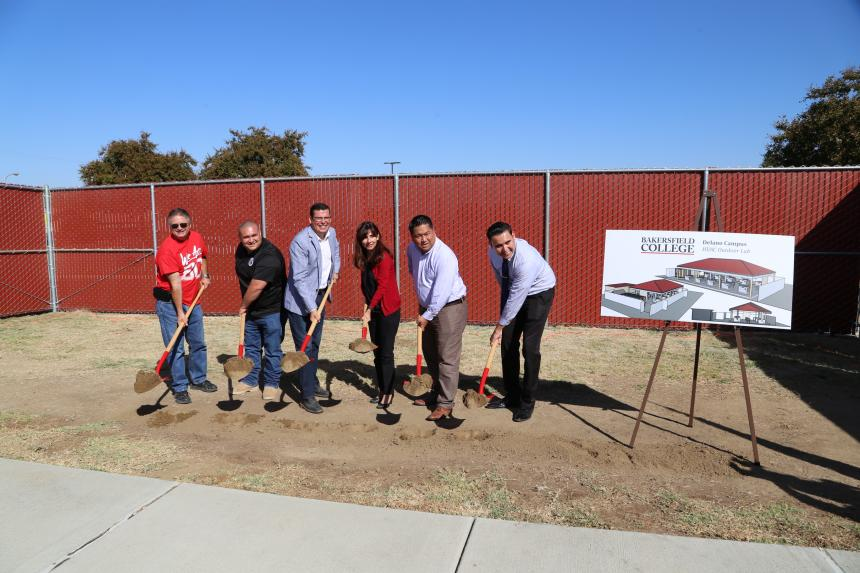 Assemblymember Rudy Salas, Bakersfield College President Sonya Christian and others break ground on the new HVAC program in Delano