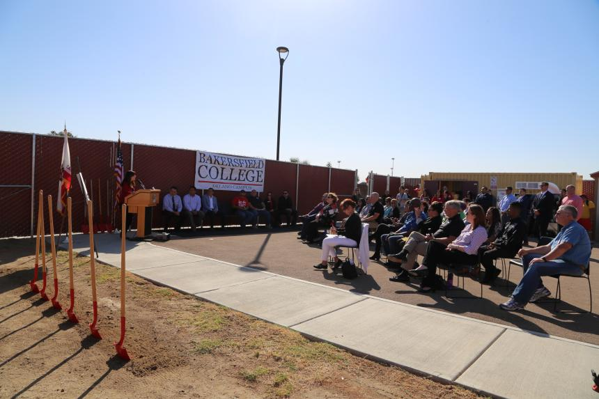 Assemblymember Rudy Salas celebrates the HVAC program groundbreaking at Bakersfield College Delano Campus