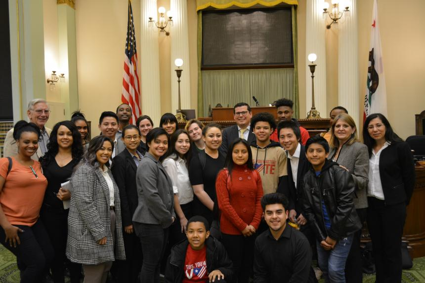 Assemblymember Salas with Dolores Huerta Foundation Students