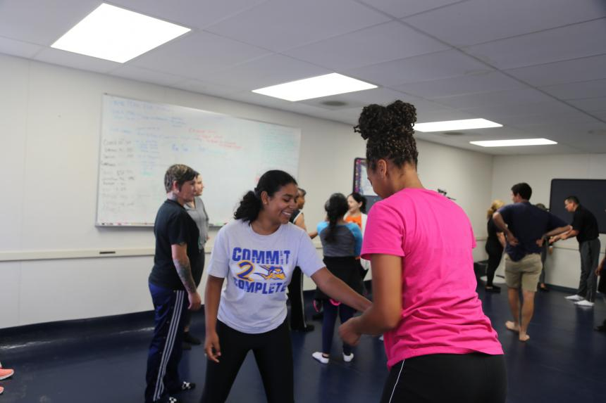 Attendees practicing self-defense moves at Assemblymember Rudy Salas's free self-defense class