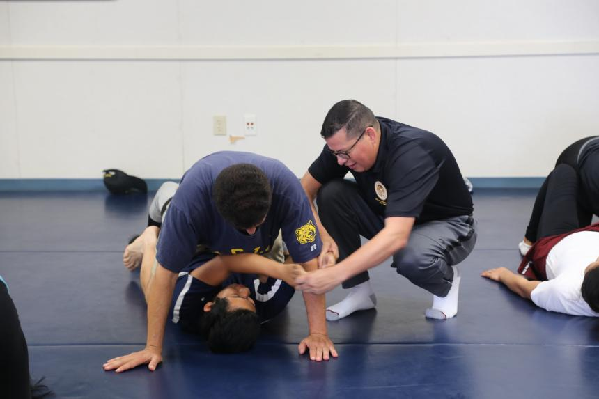Assemblymember Rudy Salas holding a free-self defense class in recognition of Domestic Violence Awareness Month