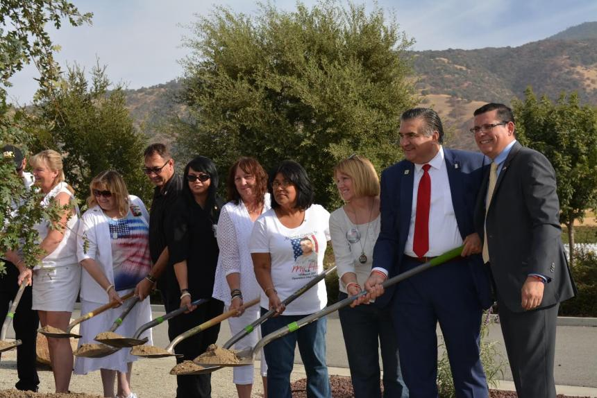 Assemblymember Rudy Salas joins Assemblymember Dante Acosta and Gold Star families for a tree dedication ceremony