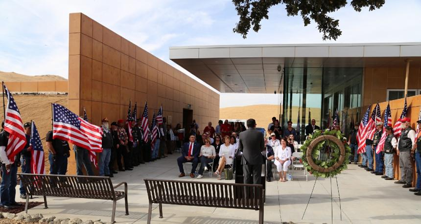 Assemblymember Rudy Salas speaking at the Bakersfield National Cemetery to recognize Gold Star families