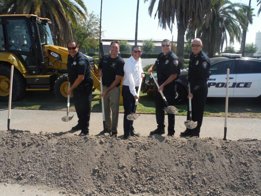 Assemblymember Rudy Salas joins Corcoran Police Chief Rueben Shortnacy, Kings County Sheriff David Robinson for Corcoran police headquarters groundbreaking