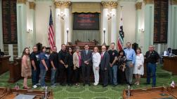 Assemblymember Salas with Gold Star Mother's and Families on the Assembly Floor
